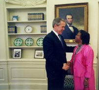 President Bush and Dr. Dupree  The Chicken Lady in the Oval Office